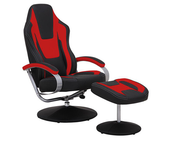 Black & Red Vinyl Recliner Home Office Desk Chair With Ottoman / Adjustable Computer Chair